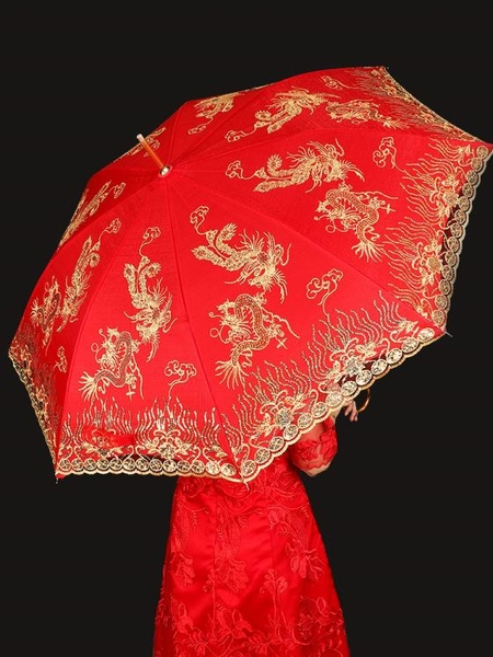 結婚雨傘用品出嫁大紅新娘傘