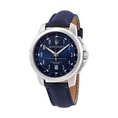 【Maserati 瑪莎拉蒂】SUCCESSO簡約時尚精品真皮腕錶-藍銀款/R8851121003/台灣總代理公司貨享一年保固