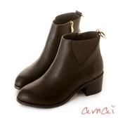 amai歐美簡約金屬環個性短靴 咖
