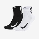 Nike U Multiplier Ankle 2PR 黑白 二雙入 吸濕 排汗 運動 短襪 SX7556-906
