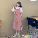 夏季新款韓版收腰顯瘦洋氣百搭中長款復古格子吊帶連衣裙女潮 快速出貨