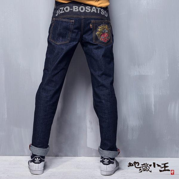 【5折限定】地藏黑白文字緹織中腰直筒褲 - BLUE WAY  地藏小王