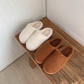 簡約日繫居家用臥室保暖棉拖鞋女秋冬季半包跟羊羔捲毛鞋