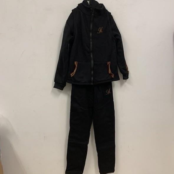 新款時尚加絨休閒長袖T恤背心休閒褲三件式套裝(L號-3XL號/777-7766)
