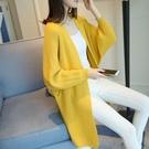 新品上市# 韓版春裝新款女中長款針織衫開衫寬松蝙蝠袖毛衣女外套