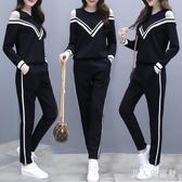 新款女裝韓版露肩長袖上衣休閒套裝時尚運動褲子兩件套 DR31733【男人與流行】