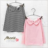 娃娃領蝴蝶結甜美長袖上衣 女童 粉紅 條紋 韓版 薄長袖 長袖T恤 出清 哎北比童裝