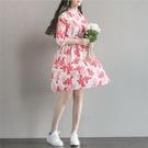 森女系洋裝 森女系棉麻連身裙夏季新款文藝印花中長款寬鬆七分袖襯衫裙兩件套-Ballet朵朵