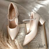 Ann'S百變公主鞋-可拆鑽石繫帶瑪莉珍粗跟尖頭鞋5.5cm-白