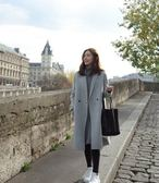 呢子風衣外套S-3XL韓版新款呢子大衣秋冬季女士中長款加厚直筒羊絨毛呢風衣外套MB110C-1779