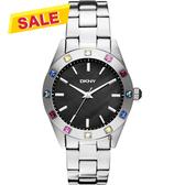 DKNY 黑珍珠貝彩色晶鑽手錶-36mm NY8718