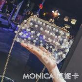 小包包女潮韓版 百搭斜背單肩錬條珍珠透明包包 美斯特精品