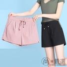 寬鬆短褲女夏季新款薄款棉麻冰絲高腰大碼白色休閒運動褲外穿