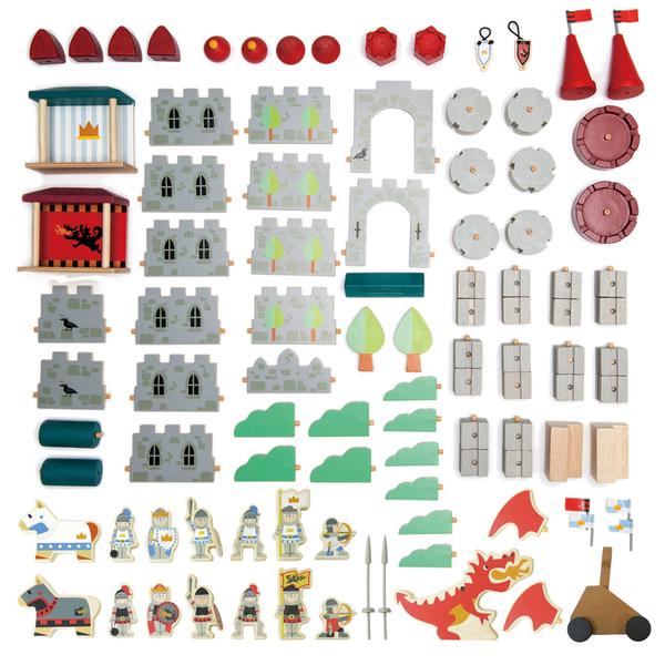 【美國Tender Leaf Toys】皇家騎士城堡建構組(內附100個積木配件)