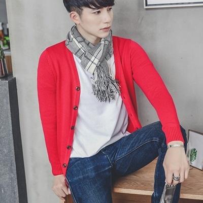 針織外套-V領純色單排扣休閒開襟男毛衣5色73pg33【巴黎精品】
