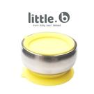 美國 little.b 316不鏽鋼餐具系列 雙層不鏽鋼吸盤碗-精靈黃