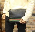 FINDSENSE Z1 韓國 時尚 潮 男 皮質 條紋 手拿包 手機包 手抓包