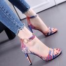 涼鞋女2021年新款夏季百搭仙女風拼色細跟網紅一字帶高跟鞋ins潮
