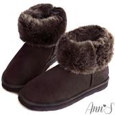 Ann'S可愛百搭-刺繡小雪花可反折素面真皮雪靴 咖