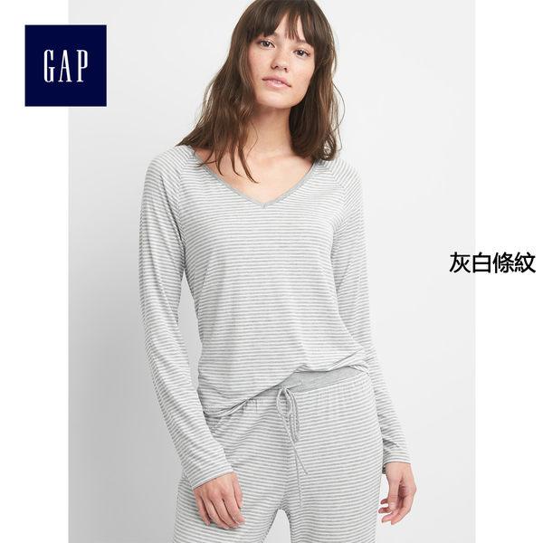 Gap女裝 柔軟舒適莫代爾V領T恤式長袖睡衣 844402-灰白條紋