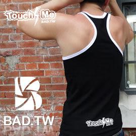 奢華壞男《 TOUCH ME限量款 - 合身超彈性挖背背心 (黑底滾白邊) 》【S / M / L / XL 】(潮T、上衣、服飾)