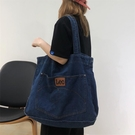 韓版復古潮ins側背深藍牛仔包包女大容量托特包大包百搭休閒新款 黛尼時尚精品