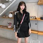 長袖洋裝港味新款韓版寬鬆長袖洋裝女裝中長款包臀休閒裙子 麥琪精品屋
