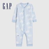 Gap嬰兒圓領長袖連體衣爬服493887-淺藍色