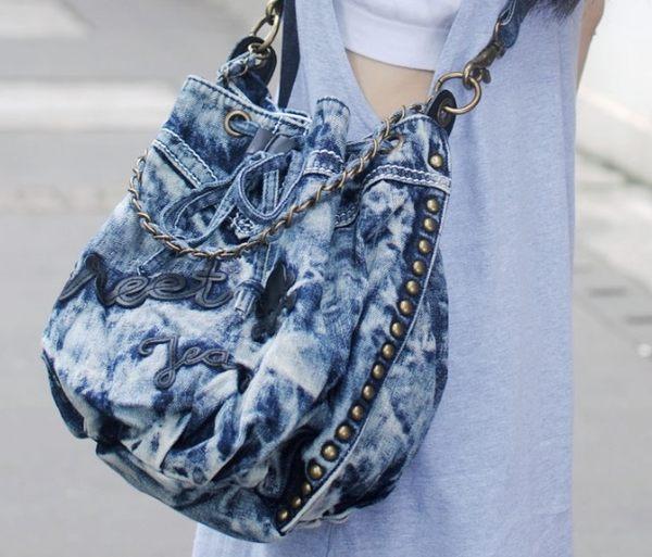 熱銷歐美 Denim Jeans 牛仔布包 旅行 肩背包 斜背包 學生書包 女後背包 女肩背包 女水桶包