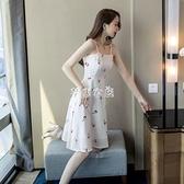 2021夏天款心機裙子仙女超仙森系印花沙灘裙甜美小清新吊帶連衣裙 快速出貨