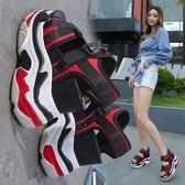 坡跟涼鞋 女復古厚底運動百搭羅馬高跟鞋