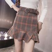 荷葉邊短裙-時尚格子氣質百搭女裙子3色73kj50[巴黎精品]