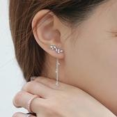 耳環 925純銀鑲鑽-葉子流蘇生日情人節禮物女耳飾73du11【時尚巴黎】