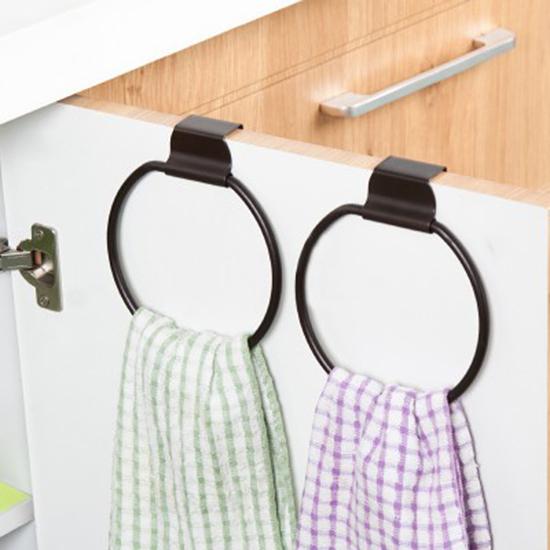 門背式圓形毛巾架 廚房 櫥櫃 鐵藝 抹布架 多用途 掛毛巾 掛架 雜物 家用 【P563】MY COLOR