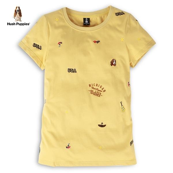 Hush Puppies 上衣 女裝滿版趣味刺繡LOGO棉質上衣