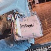 秒殺水桶包包包女斜背2019新款透明包斜背鍊條果凍包側背女包水桶包聖誕交換禮物