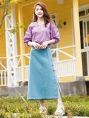 春夏7折[H2O]可兩面穿落肩泡泡袖刺繡設計棉質上衣 - 藍/白/淺紫色 #9675030
