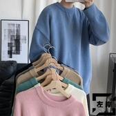 毛衣男士春秋季素色寬鬆圓領針織衫休閒大碼上衣【左岸男裝】
