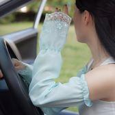 夏季長款防曬手套女蕾絲雪紡薄款開車騎車手臂套袖套戶外遮陽大碼 春生雜貨