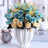 仿真玫瑰花束假花絹花干花藝塑料客廳擺設餐桌茶幾擺件裝飾花盆栽CY  【PINKQ】
