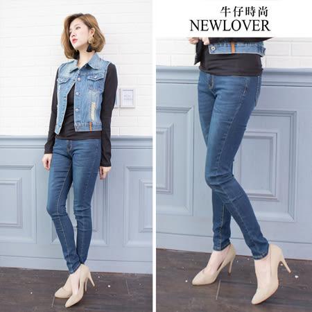 平腰顯瘦窄管褲NEWLOVER牛仔時尚【161-6074】簡約素面設計激瘦款窄管褲S-XL