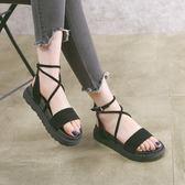 楔型厚底涼鞋 大碼夏季新款交叉綁帶涼拖鞋復古羅馬搭扣女鞋《小師妹》sm2324