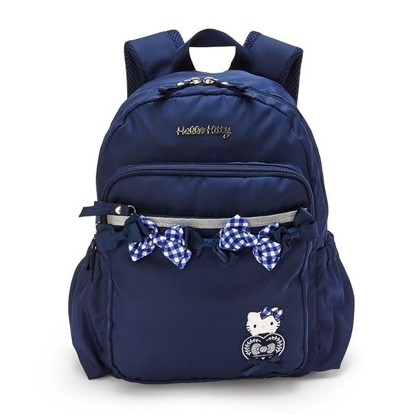 小禮堂 Hello Kitty 尼龍雙層後背包 防潑水後背包 休閒背包 書包 10L (深藍 緞帶) 4550337-22931