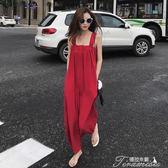 紅色抹胸吊帶連體褲女夏新款寬鬆雪紡九分闊腿褲子花間公主提拉米蘇