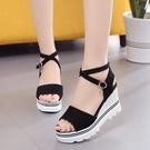 楔形涼鞋 2021韓潮新款磨砂坡跟涼鞋女夏季高跟鬆糕厚底百搭休閒學生女鞋子