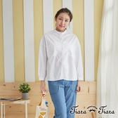 【Tiara Tiara】文青風落肩長短版襯衫(白)