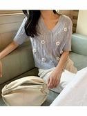 K姐自制 手工花朵小衫18支高黏雅塞爾立體重工鉤花針織小衫N2F-A10-A胖妞衣櫥