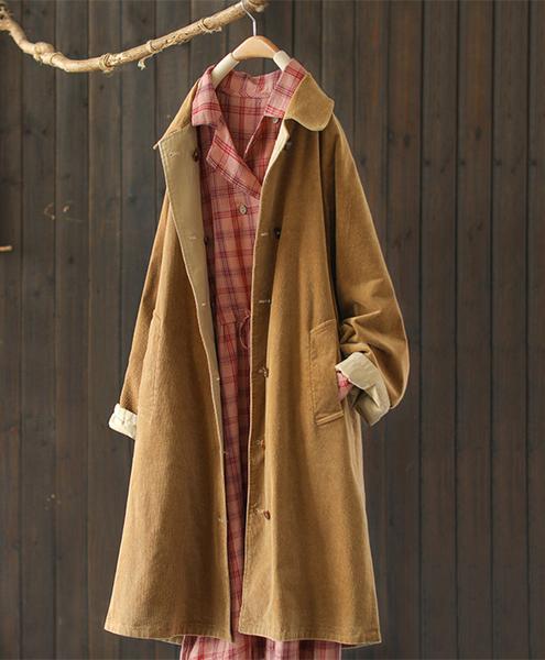 隨心兩面穿純棉燈芯絨後開叉風衣中長版寬鬆外套/設計家Y8095