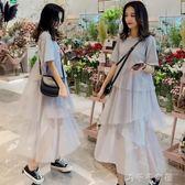 孕婦裝甜美仙女網紗拼接短袖孕婦洋裝女中長款 千千女鞋