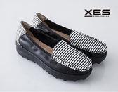 XES 條紋海軍風輕便鞋 樂福鞋 休閒鞋 女款/黑色